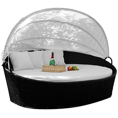 exclusive sonneninsel aus poly rattan lounge rattanbett sonnenliege weiss - Exclusive Sonneninsel aus Poly Rattan Lounge Rattanbett Sonnenliege weiß