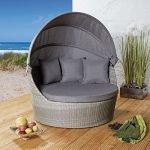 Strandkorb aus Poly Rattan in grau für Ihre Terrasse, Garten oder Balkon mit praktischem Faltdach