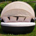 XXL Sonneninsel Strandkorb Sonnenliege Lounge Rattan